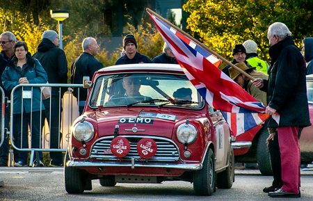 Paddy Hopkirk prepares to wave away a competitor in the Bradley Stoke stage of the 2016 RAC Rally of the Tests.