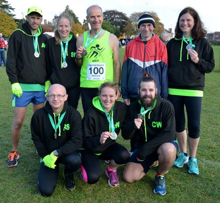 Richard Nuell (back row, centre) celebrates with friends from North Bristol Running Group after completing his 100th half marathon. Richard reached his record by completing the Stroud Half Marathon on 23rd October 2016.