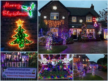 Charity Christmas lights display in Watch Elm Close, Bradley Stoke.