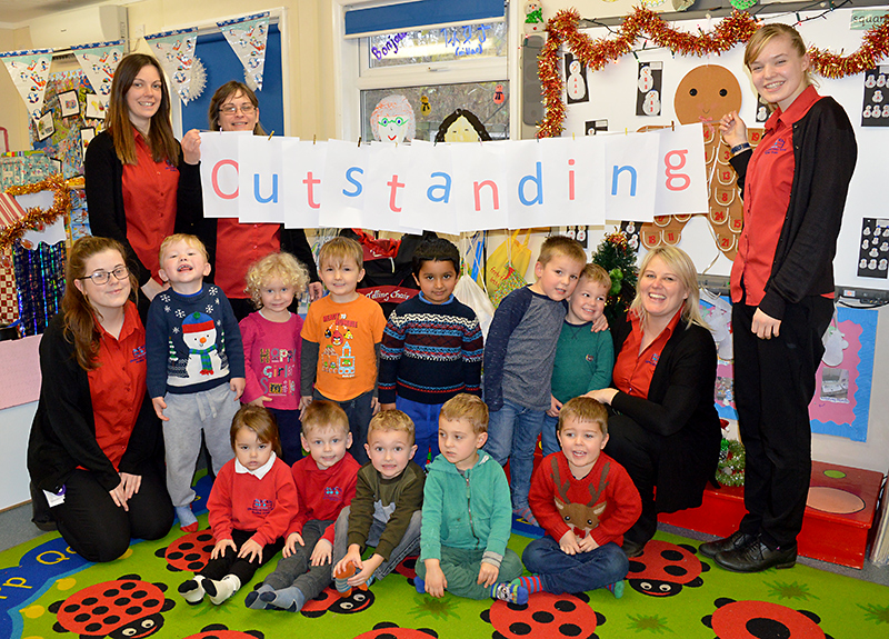 Staff and children at Abacus @ Meadowbrook Pre-School in Bradley Stoke celebrate their recent 'outstanding' Ofsted report.