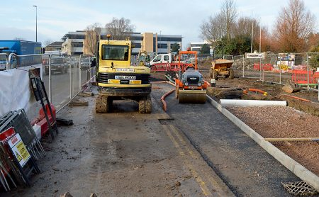 Work under way on the Aztec West Roundabout A38 southbound widening scheme.