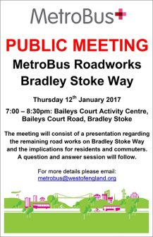 Bradley Stoke MetroBus meeting on Thursday 12th January.