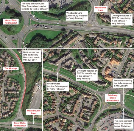 Annotated maps of MetroBus roadworks in Bradley Stoke.