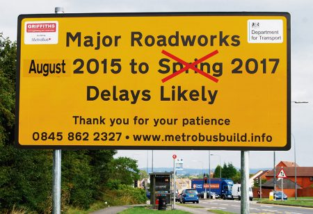 MetroBus roadworks in Bradley Stoke will now NOT be complete by spring 2017.