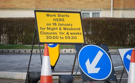 Sign advertising planned overnight and weekend closures of Bradley Stoke Way during January 2017. The road closures are associated with construction of the North Fringe to Hengrove Package MetroBus route.