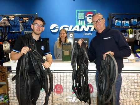 Staff at Giant Bristol donate inner tubes to the Three Brooks Nature Conservation Group.