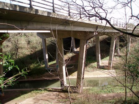 The two Bromley Heath Viaducts which carry the A4174 Ring Road over the River Frome.