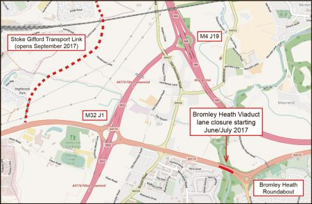Location of carriageway closure on southern Bromley Heath Viaduct.