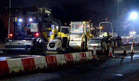 Overnight resurfacing work on Bradley Stoke Way, as part of the MetroBus project.