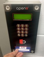 Open Plus swipe pad at Bradley Stoke Library.
