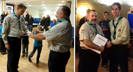 Neil Raaff (left) and Richard Shepherd (right) being presented with Wood Badges by Clive Mason (Group Scout Leader, 1st Bradley Stoke).