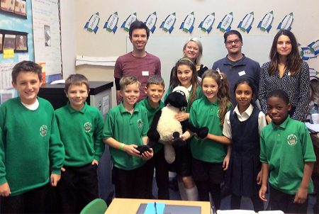 Game designers from Aardman with Year 4 & 5 pupils at Bowsland Green Primary School.