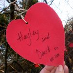 Message on the 'Valentine's tree' created by Bradley Stoke in Bloom.