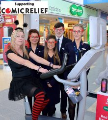 Photo of Specsavers staff taking part in an exercise-a-thon to raise funds for Comic Relief.