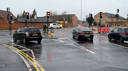 The Woodlands Lane junction with Bradley Stoke Way, fully reopened after being closed for 559 days for MetroBus roadworks.