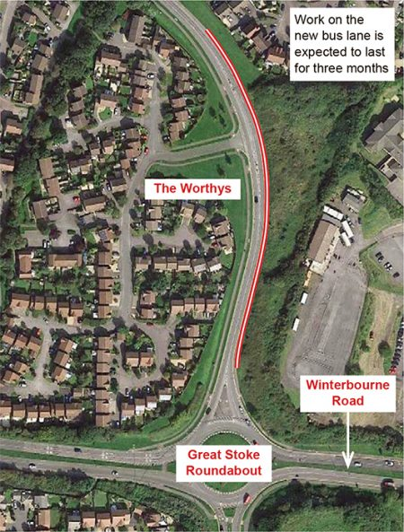 Indicative plan showing new bus lane at southern end of Bradley Stoke Way.