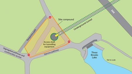 Plan of the site compound near the Three Brooks lake.