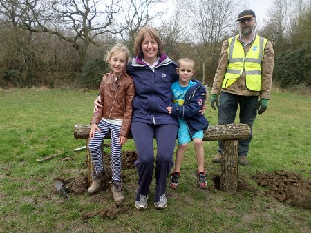 Bench installed by volunteers from the Three Brooks Local Nature Conservation Group.