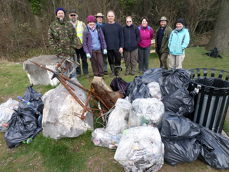 Volunteers from the Three Brooks Local Nature Conservation Group with rubbish collected during their Big Spring Clean.
