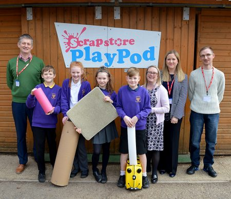 Representatives from sponsors Greencore Prepared Meals visit the Scrapstore PlayPod at Wheatfield Primary School, Bradley Stoke, Bristol.