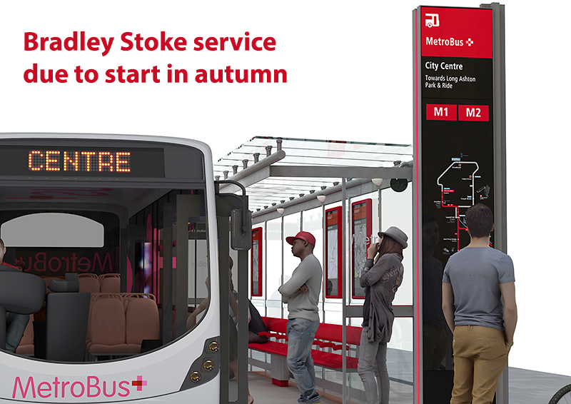 Artist's impression of a MetroBus stop with iPoint.