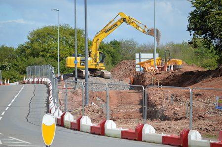 Photo of MetroBus construction work near Great Stoke Roundabout.