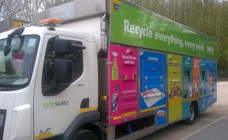 Photo of a 'Romaquip' recycling collection vehicle.