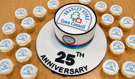 Photo of celebratory cake created to mark the 25th anniversary of Bradley Stoke Town Council.