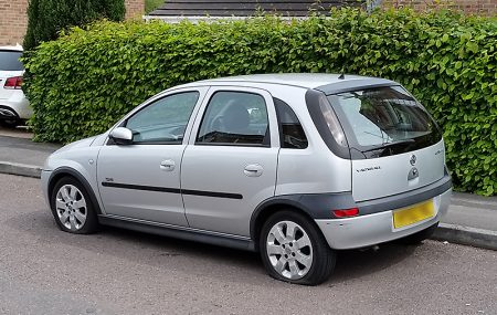 Photo of a Vauxhall Corsa with two flat tyres on Hawkins Crescent.