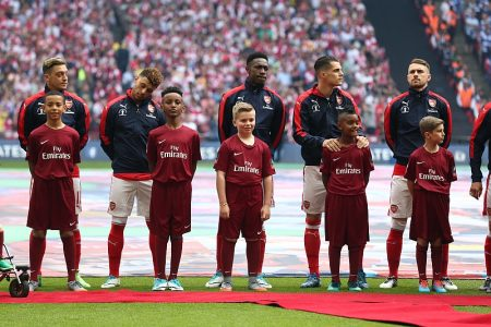 Bradley Stoke schoolboy Alex Okoye (extreme left), player escort at the 2017 FA Cup Final.