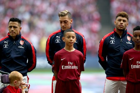 Bradley Stoke schoolboy Alex Okoye (centre), player escort at the 2017 FA Cup Final.