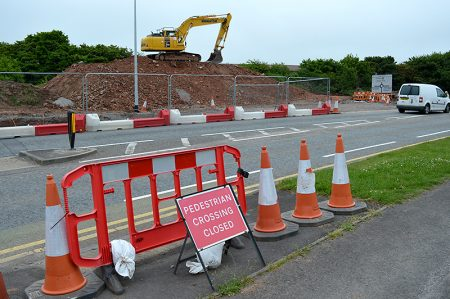 Photo of MetroBus construction work near Great Stoke Roundabout.