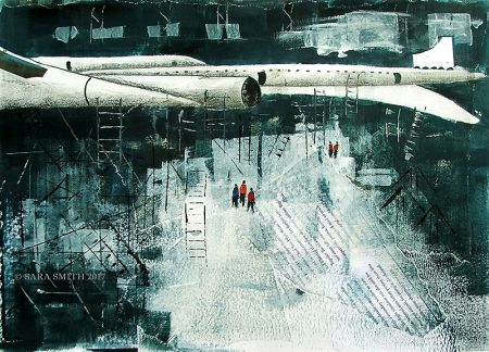 Concorde Assembly Line, by Sara Smith (mixed media).