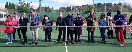 Photo of members of the Almondsbury Tennis Club disability tennis group.