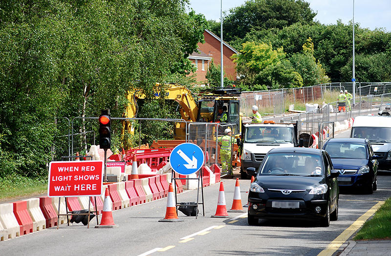 Photo of temporary traffic lights in operation between the Great Meadow and Great Stoke roundabouts.