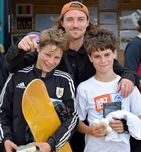 Prizewinners in the skateboard open category.