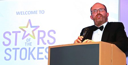 Photo of Andy Wynn speaking at the presentation evening.