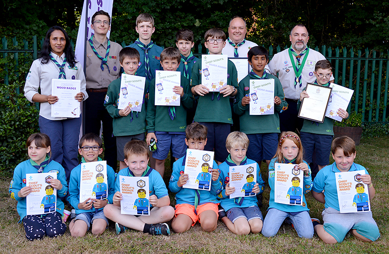 Some of the awards winners honoured at the 1st Bradley Stoke Scout Group's AGM on 12th July 2017.