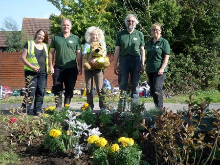 Bradley Stoke in Bloom volunteers at the 'Aztec Triangle'.