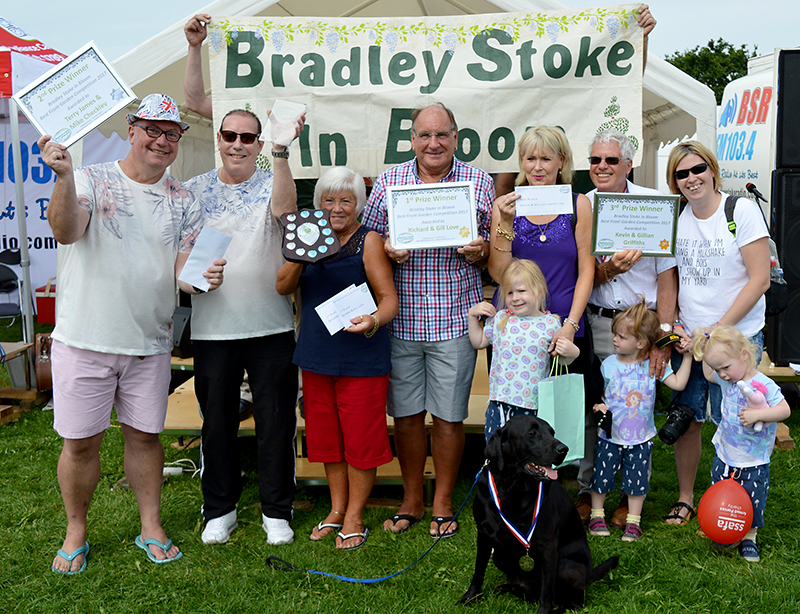 Prize winners (1st to 3rd place) in the 2017 Bradley Stoke in Bloom Best Front Garden competition.