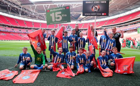 Photo of players from Bradley Stoke Youth FC at Wembley.
