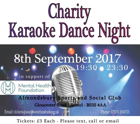 Poster promoting a Charity Karaoke Dance Night on 8th September 2017.