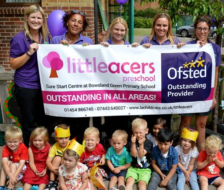 Photo of staff and children at Little Acers Pre-School in Bradley Stoke.