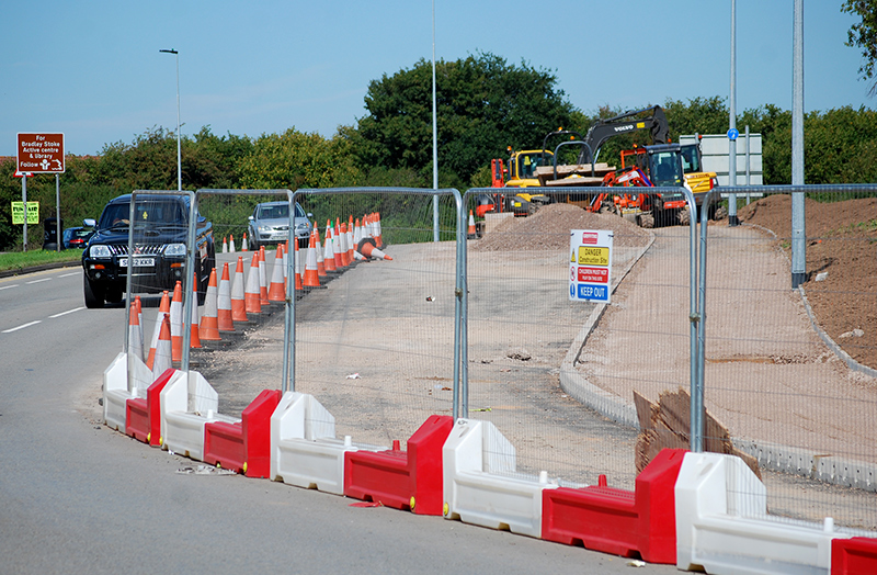Photo of new bus lane near Great Stoke Roundabout.