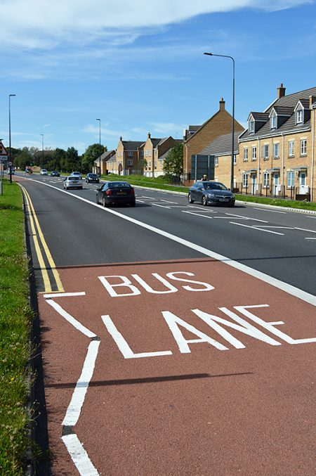 Photo of new westbound bus lane on Bradley Stoke Way.