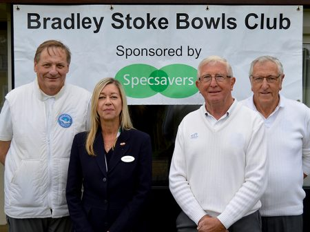 Photos of Julie Rafferty (Specsavers Bradley Stoke) with members of the bowls club.