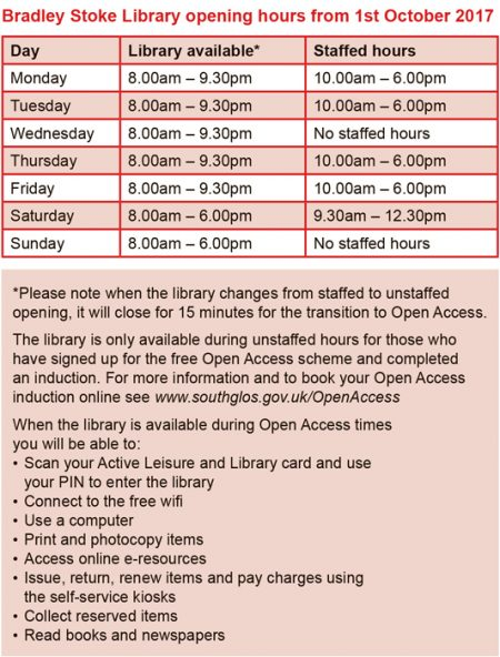 Bradley Stoke Library opening hours from 1st October 2017.