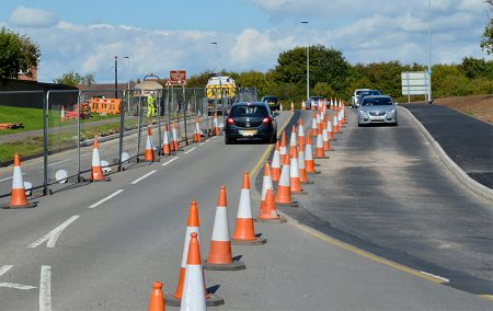 Photo of traffic using the new bus lane at the southern end of Bradley Stoke Way.