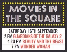 Poster for the 'Movies in the Square' event.