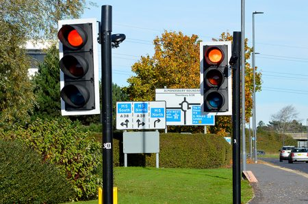 Photo of traffic lights at the pedestrian crossing.
